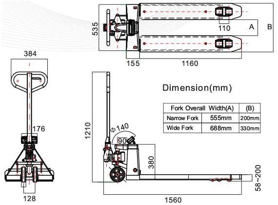 Paletový vozík s váhou T-scale TPR do 2000 kg