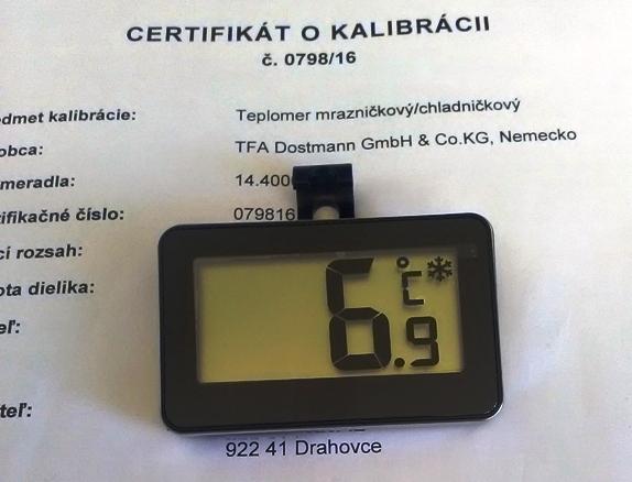 Digitálny teplomer do chladničky -kalibrovaný v bodoch 2,6 a 10 °C