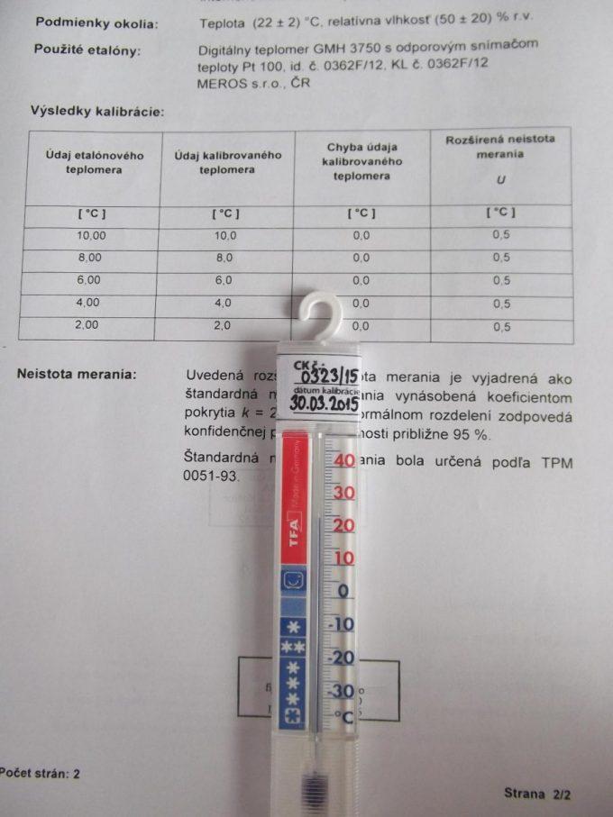 Teplomer do chladničky kalibrovaný v bodoch 2, 6, a 10 °C