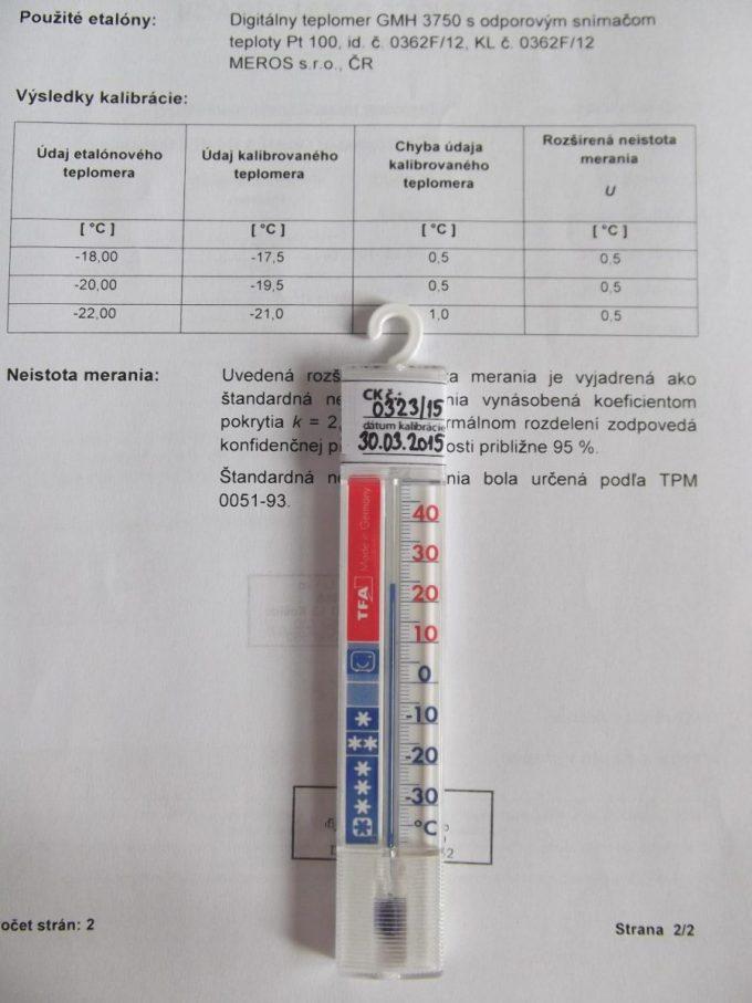 Teplomer do mrazničky kalibrovaný v bodoch -18, -20 a -22 °C