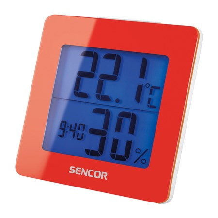 Teplomer s vlhkomerom a hodinami Sencor SWS 1500 - červený