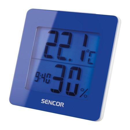 Teplomer s vlhkomerom a hodinami Sencor SWS 1500 - modrý