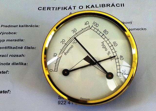 Vlhkomer s teplomerom analógový pre chladený sklad-kalibrovaný
