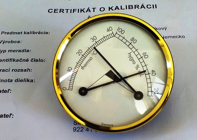 Vlhkomer s teplomerom analógový pre suchý sklad-kalibrovaný