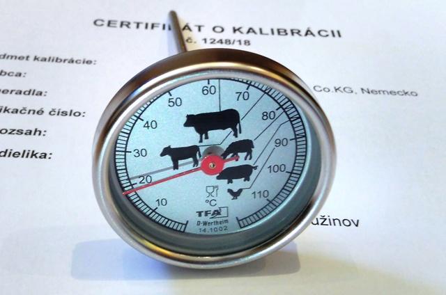 Vpichový teplomer-kalibrovaný v bodoch 60,65 a 70 °C